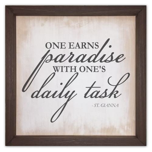 """""""One Earns Paradise"""" Rustic Framed Quote"""