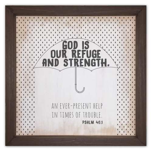 """God is Our Refuge"" Rustic Framed Quote"