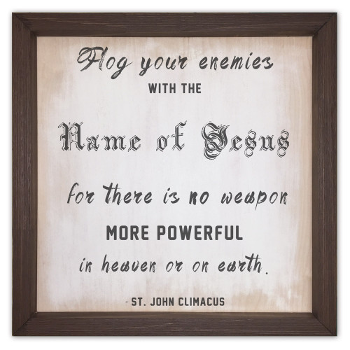 """""""Flog  Your Enemies"""" Rustic Framed Quote"""