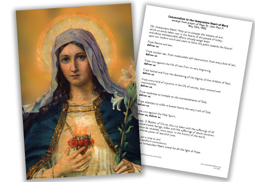 Immaculate Heart of Mary Consecration 4x6 Prayer Card