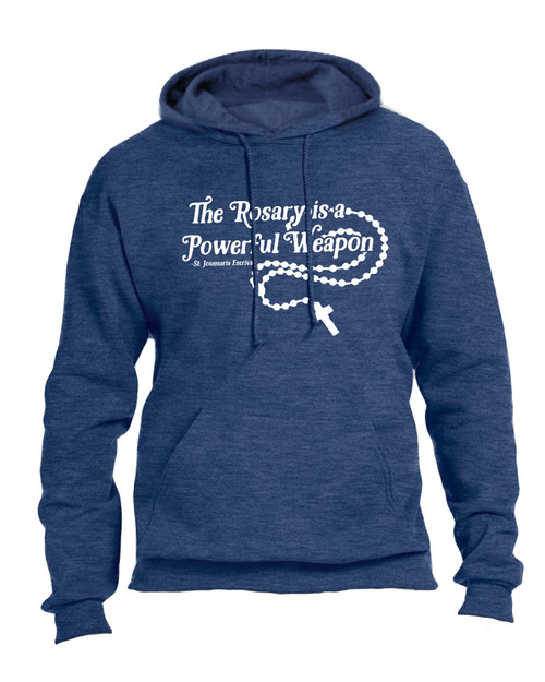 """The Rosary"" St. Josemaria Escriva Heather Navy Hoodie"