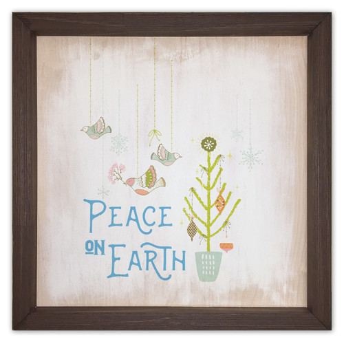 Peace on Earth Rustic Framed Quote