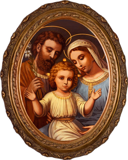 Italian Holy Family Framed Oval Canvas