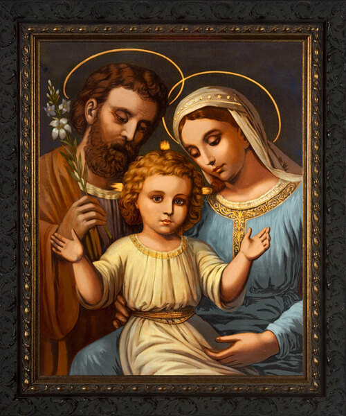 Italian Holy Family - Ornate Dark Framed Art