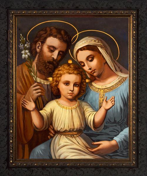 Italian Holy Family - Ornate Dark Framed Art