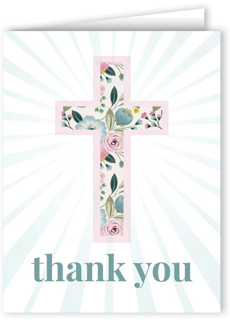 Light Floral Cross Thank You Note Card