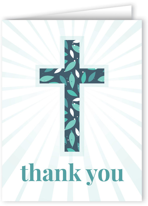Dark Leaf-Patterned Cross Thank You Note Card