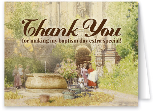 Watercolor Baptismal Gardens Thank You Note Card