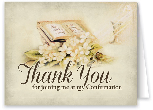 Vintage Scripture and Flowers Confirmation Thank You Note Card