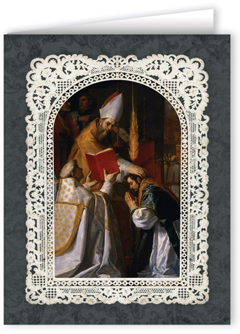 Ornate Holy Orders Thank You Note Card