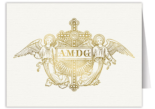 AMDG Angels Woodcut Note Card