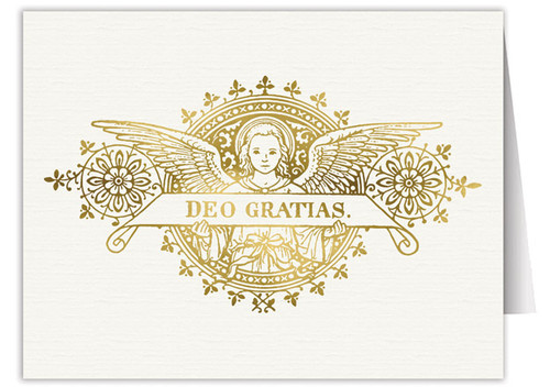 Deo Gratias Angel Woodcut Note Card