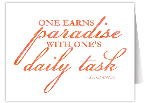 """One Earns Paradise"" Quote Note Card"