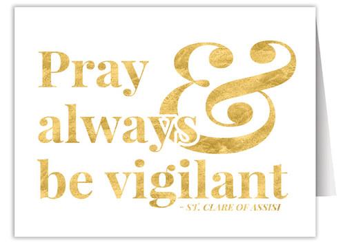 """Pray & Always be Vigilant"" Quote Note Card"