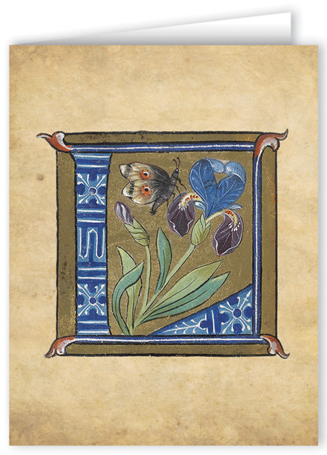 Letter L Illuminated Manuscript Note Card