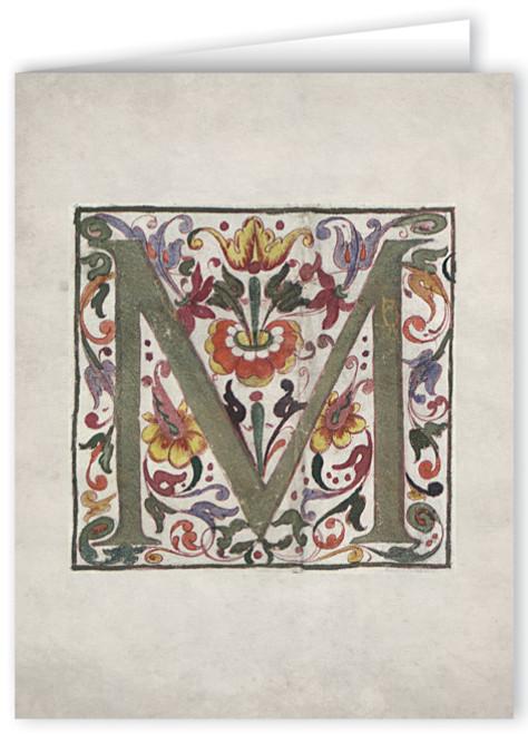 Letter M Illuminated Manuscript Note Card