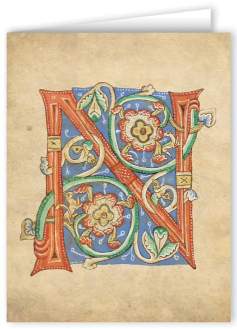 Letter N Illuminated Manuscript Note Card