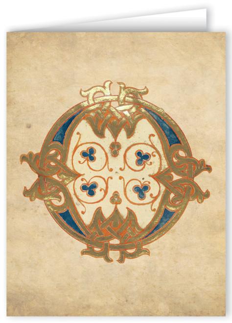 Letter O Illuminated Manuscript Note Card