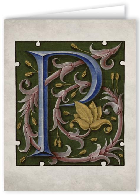 Letter P Illuminated Manuscript Note Card