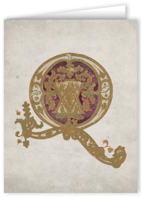 Letter Q Illuminated Manuscript Note Card