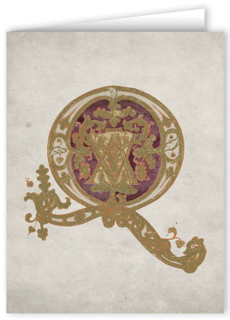 Letter Q Illuminated Manuscript Note Card