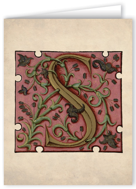 Letter S Illuminated Manuscript Note Card
