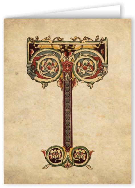 Letter T Illuminated Manuscript Note Card
