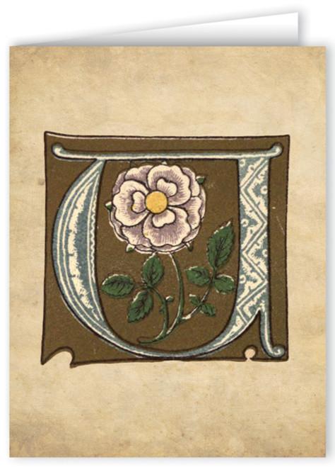Letter U Illuminated Manuscript Note Card