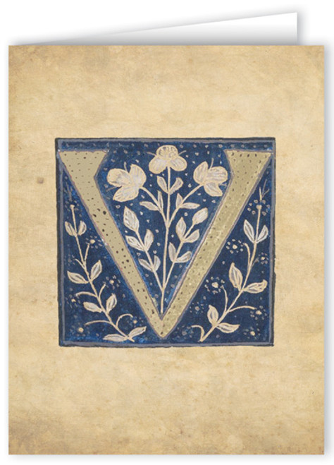Letter V Illuminated Manuscript Note Card