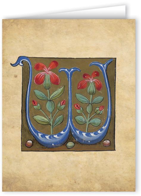 Letter W Illuminated Manuscript Note Card