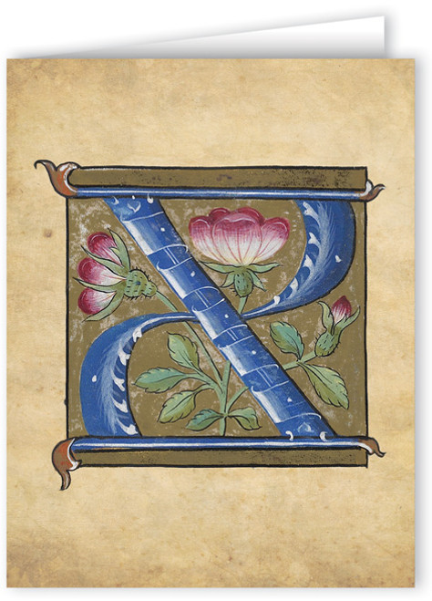 Letter X Illuminated Manuscript Note Card