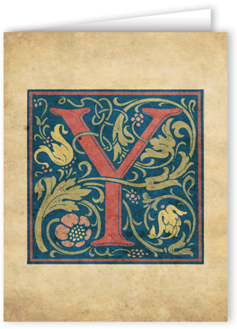 Letter Y Illuminated Manuscript Note Card