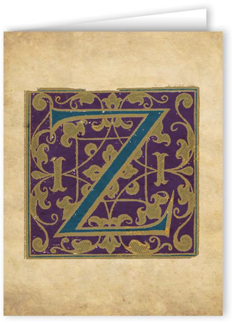 Letter Z Illuminated Manuscript Note Card