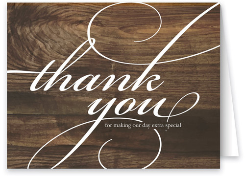 Dark Wood Wedding Thank You Note Card