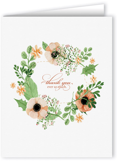 Wreath of Poppies Thank You Note Card