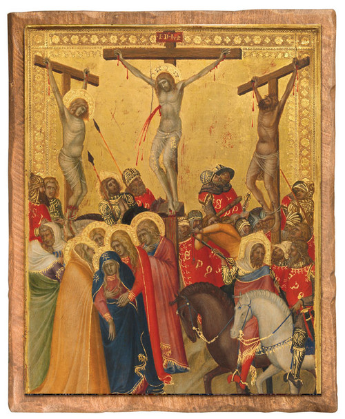 The Crucifixion by Pietro Lorenzetti Cloister Collection Catholic Icon Plaque