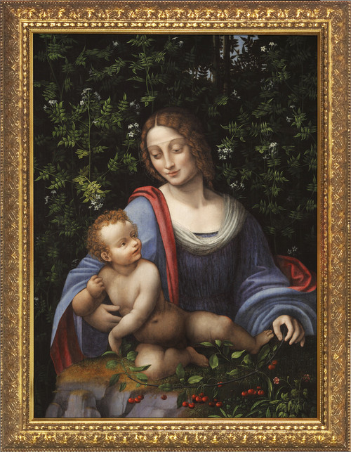 Madonna and Child in a Jasmine Bower - Gold Framed Art