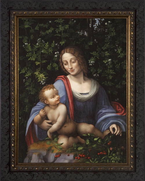 Madonna and Child in a Jasmine Bower - Ornate Dark Framed Art