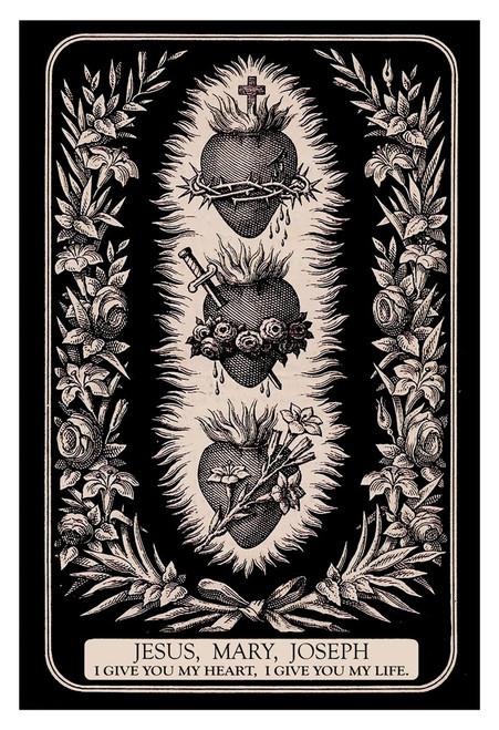 """Three Hearts of the Holy Family 12x18"""" Print"""