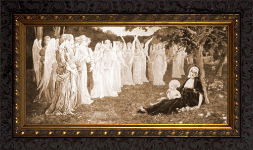 The Sleep of the Virgin by Élisabeth Sonrel - Ornate Dark Framed Art