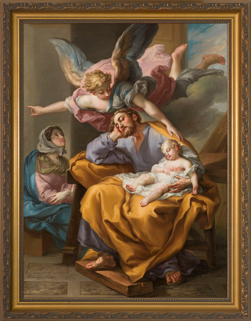 Joseph's Dream by Vicente López Portaña - Gold Framed Art