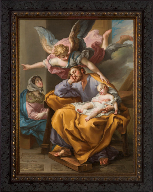 Joseph's Dream by Vicente López Portaña - Ornate Dark Framed Art