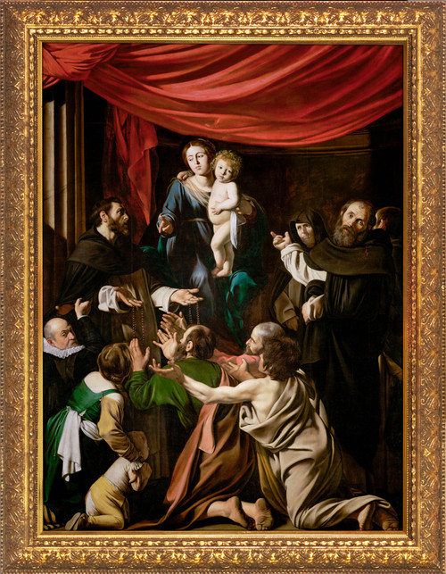 Madonna of the Rosary by Caravaggio - Gold Framed Art