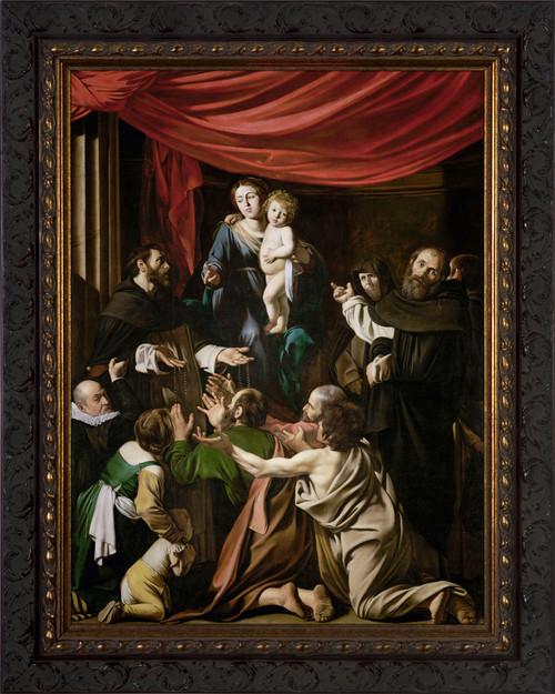 Madonna of the Rosary by Caravaggio - Ornate Dark Framed Art