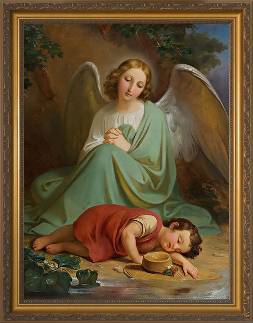 Guardian Angel by Melchior Paul von Deschwanden- Gold Framed Art