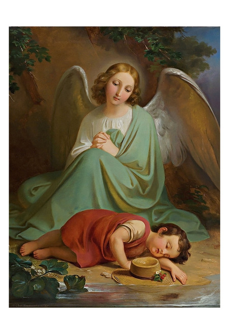 Guardian Angel by Melchior Paul von Deschwanden Print