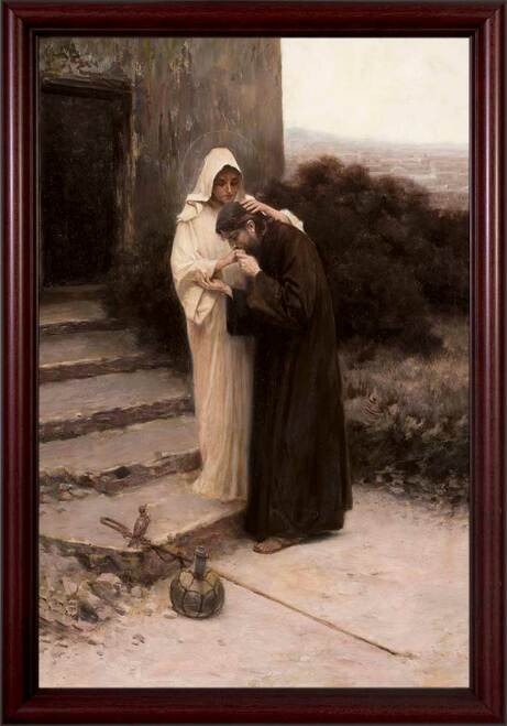 Christ's Farewell to Mary  - Cherry Framed Art