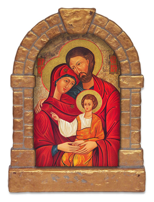 Holy Family Outdoor Garden Shrine - Gold