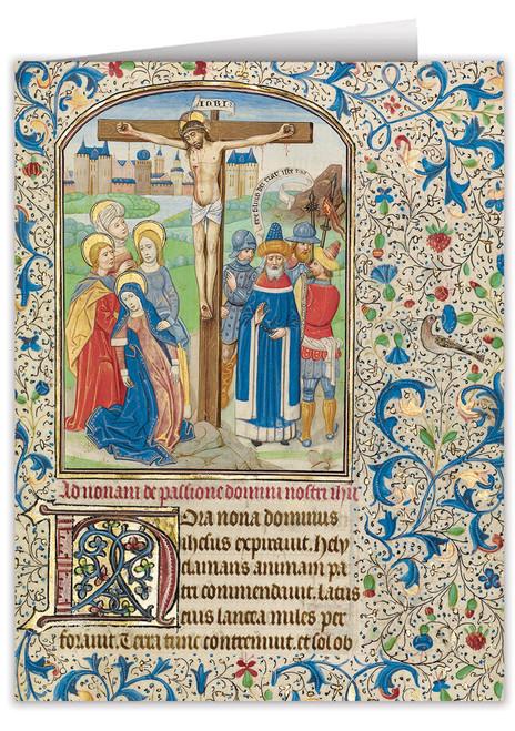 Crucifixion by William Vrelant Illuminated Manuscript Note Card