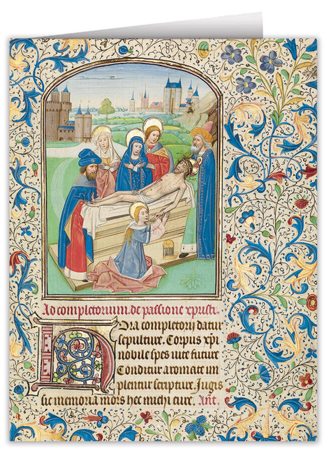 The Entombment by William Vrelant Illuminated Manuscript Note Card